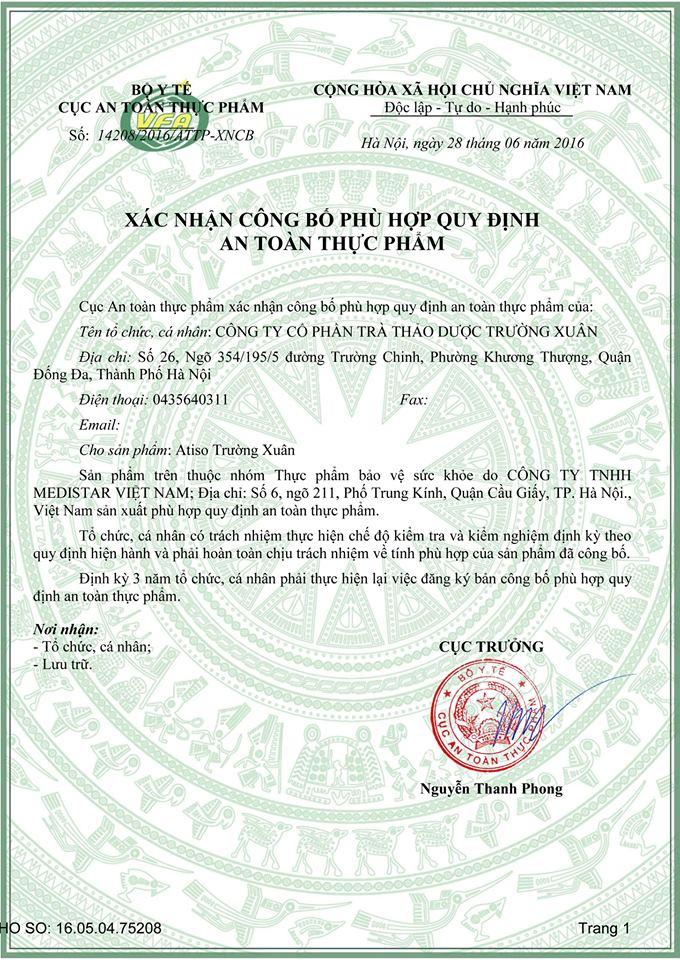 giấy chứng nhận atiso trường xuân