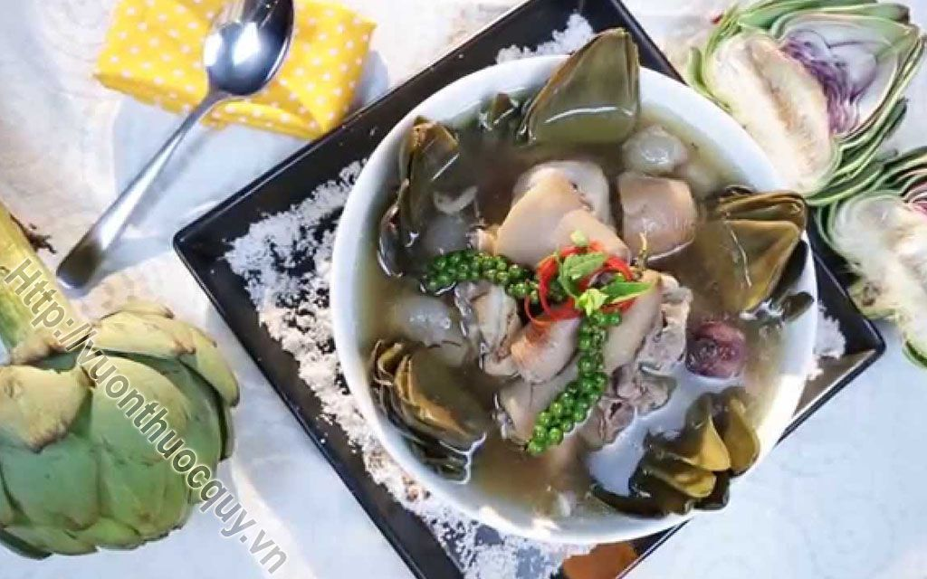 canh atiso hầm giò heo